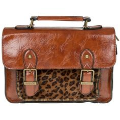 Tan satchel with fake fur pocket www.beehappyhome.co.uk