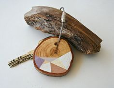 Pine wood keychain key fob with stainless steel by naneHandmade