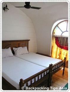 Houseboat bedroom in Alleppey, India.