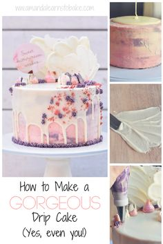 A step-by-step cake decorating tutorial demonstrating how to make a drip cake! This beauty is perfect for your next birthday cake, graduation cake, mother's day cake, or even a wedding cake! Learn how to make the white chocolate drip, white chocolate sails, and cute flowers using Russian piping tips. If I can decorate a cake, so can you!