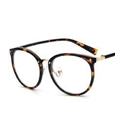 Retro Women Clear Lens Eyeglasses Unisex Fashion Big Round Frame Eye Glasses Frames Computer Glasses Spectacles