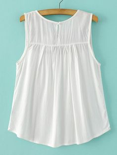 SheIn offers White Embroidered Sleeveless Blouse & more to fit your fashionable needs. T Shirt Sewing Pattern, Nightgown Pattern, Formal Tops For Women, Fall Outfits, Cute Outfits, Plus Size Summer Outfit, Girl Fashion, Fashion Dresses, Relaxed Outfit