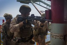 U.S. Marines with Company C, 1st Reconnaissance Battalion, 1st Marine Division assigned to the 13th Marine Expeditionary Unit, 1st Marine Expeditionary Force, during a gas and oil rig platform (GOPLAT) training exercise at Carpentaria, California, Aug. 20, 2015.