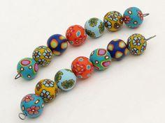 Designer Perlen aus Polymer clay beads, fimo, arcilla, 17mm Millefior... von filigran-Design   auf DaWanda.com