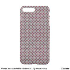Woven Rattan Pattern Silver on Custom Red iPhone 8 Plus/7 Plus Case Dark Red Background, Main Colors, White Ink, Keep It Cleaner, Iphone 8 Plus, Rattan, Best Gifts, Iphone Cases, Gift Ideas