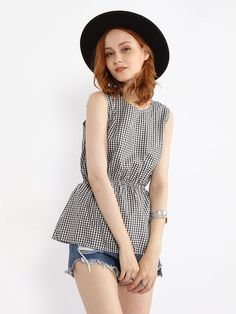 Round Neck Plaid Printed Back Hold Bowknot Blouse Only $13.95 USD More info...