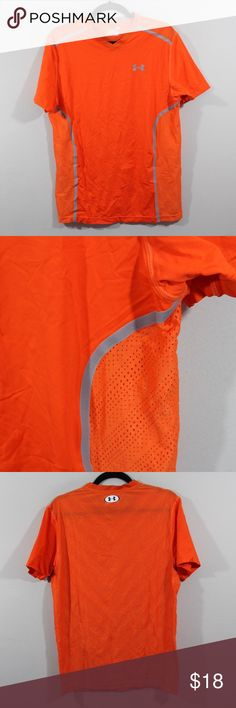 Under Armour Fitted Vented V-Neck Running Shirt Under Armour HeatGear Fitted Vented V-Neck Shirt  Shirt  Comes from a smoke-free household  Orange  The size is Large  Measurements are:  21 inches underarm to underarm 28.5 inches top to bottom  91% Nylon 9% Elastane  Check out my other items for sale in my store!  E46 Under Armour Shirts Tees - Short Sleeve