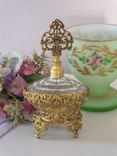 PERFUME BOTTLE - Gold, filigree