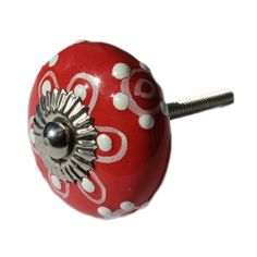 Ceramic Drawer Knobs / Cabinet Pull in Bright Red with Embossed dots in white (CK07) by DaRosa on Etsy https://www.etsy.com/listing/206539193/ceramic-drawer-knobs-cabinet-pull-in