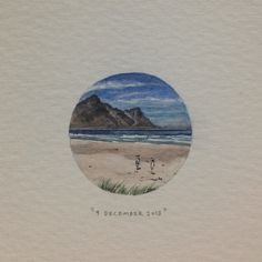 Day 343 : Cool Bay, vir Mignon  (van Zola). 27 x 27 mm. #365paintingsforants #miniature #watercolour #coolbay #ocean #surfing