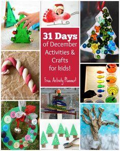 31 Days of Fun Kids Activities for December! FREE activity calendar! Christmas