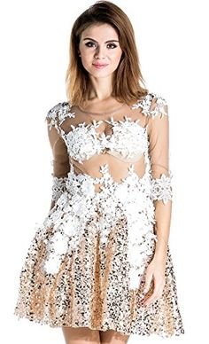e1fd0fb5d90 Missord Women s Round Neck Flower Lace Casual Short Dress with Sequins Gold  X-Small Missord