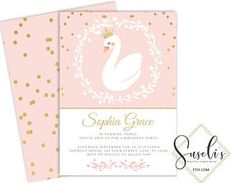 Swan Birthday Invitation card, Custom Gold Glitter Princess Crown Pink Invite Party DIY Card kit Printable Birthday, DIGITAL FILES, BS33