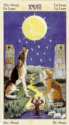 XVIII- The Moon - Tarot of Pagan Cats