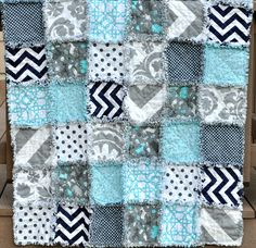 Crib Sized, Rag Quilt For Baby- Perfect Shower Gift