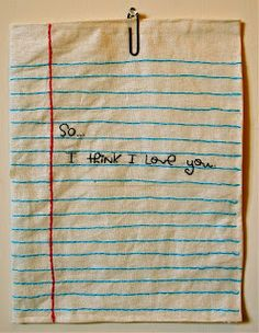 Love this take on a handstiched permanent love note