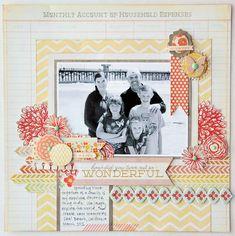 #papercraft #scrapbook #layout. Beautiful layout from Jana Eubank using My Minds Eye products