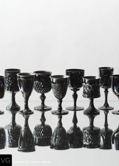 Vintage Colored Black Goblets from Casa de Perrin Halloween Buffet Table, Goth Home Decor, Viking Glass, Vintage Glassware, Black Crystals, Vintage Colors, Black Glass, Milk Glass, Drinkware