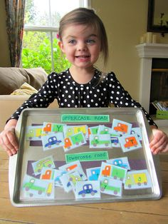 alphabet road activity Sorting upper & lower case letters easy magnetic on a cookie sheet Preschool Literacy, Early Literacy, Literacy Activities, Preschool Activities, Kindergarten, Cookie Sheet Activities, Alphabet Activities, Toddler Learning, Early Learning