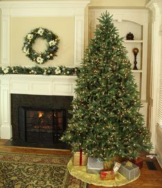 Sale starting at $449 Pre-Lit full Christmas tree with natural blue spruce branches and the tips vary in each needle tips color to be the most realistic, natural and give that fresh cut Christmas tree look that makes the family holidays decorating more special! #Christmas tree, Christmas trees, Christmas Shopping, Shopping for Christmas, #Artificial Christmas trees