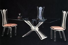 Acrylic Dining Room Set With Table And Acrylic Chairs. Made In America    Muniz Plastics