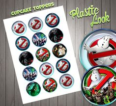 Ghostbusters Cupcake Toppers, Cristal Look, High Quality, Birthday Toppers, Plastic Look,  Kids Decor, Sticker Digital Download