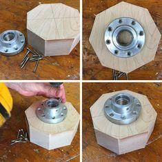 To Make Turn a Wood Bowl - Complete Guide Illustrated Turning Wood Bowls Step 3 Attaching FaceplateTurning Wood Bowls Step 3 Attaching Faceplate Wood Turning Lathe, Turning Tools, Wood Turning Projects, Easy Craft Projects, Wood Lathe, Diy Crafts, Router Wood, Welding Projects, Cnc Router