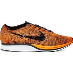 Nike Flyknit Racer knitted trainers ($140) ❤ liked on Polyvore featuring shoes, orange shoes, lace shoes, nike, light weight shoes and flyknit shoes