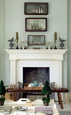 Aqua and beige living room | fireplace detail | Cathy Kincaid Interiors