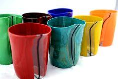 "A complete set of handmade Murano Glass Blown Drinking Glasses ""VASO ERDI"""