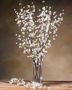 White Silk Cherry Blossom Stems | Single Artificial Stem Designs Online