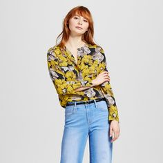 Women's Collarless Button Up Blouse Yellow Floral Xxl - Who What Wear