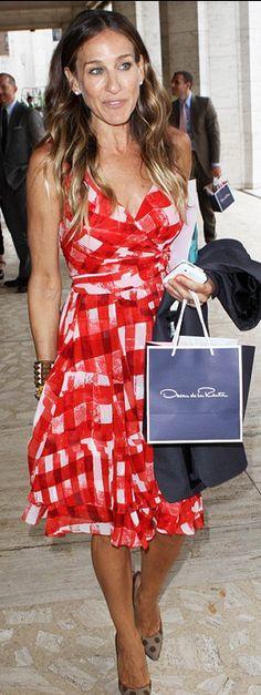 Sarah Jessica Parker: Dress - Oscar de la Renta Jacket - Martin Margiela Shoes - Manolo Blahnik Jewelry - Shourouk and Fred Leighton