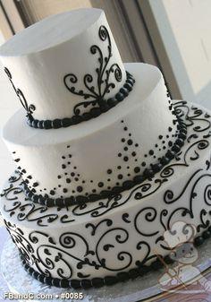 "Design W 0085 | Butter Cream Wedding Cake | 14""+10""+6"" | Serves 125 | Black Scroll Piping | Standard Price"