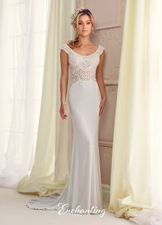 217104 - Jersey and embroidery fit and flare gown with scalloped slight cap sleeves, front and back scooped necklines, hand-beaded and embroidered illusion bodice, covered buttons down embroidered illusion back, chapel length train.