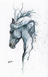 Blue Horse 2014 06 16 Art Print by Angel Tarantella
