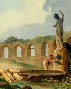Aqueduct in Ruins by Hubert Robert (French 1733-1808)