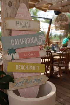 Surf party and decoration for a luxury kids birthday in St Tropez, Pampelone Beach Courchevel 1850, Aloha Beaches, Kids Events, Bar Mitzvah, Beach Party, Surfing, Table Decorations, Birthday, Christmas