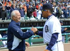 Miguel Cabrera talks with Tigers great Al Kaline before a game.