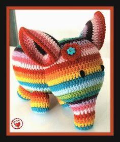 Jam Made Rainbow Stripey Elephant