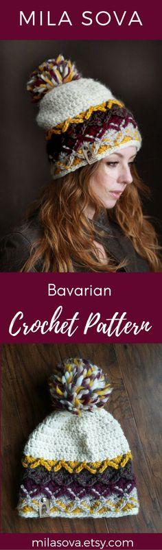 Bavarian crochet pattern hat beanie DIY fall fashion Mila Sova