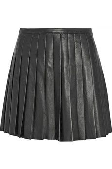 Belstaff Kaddington pleated leather mini skirt   NET-A-PORTER