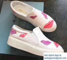 Prada Heel 3.5cm Mouth Slip On Sneakers White 2017