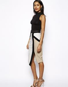 River Island Colour Block Pencil Skirt