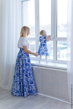 Юбка для мамы и платье для дочки. Ткань сатен.