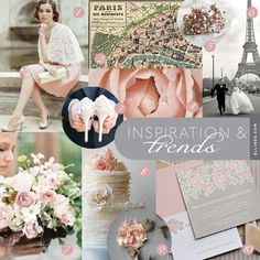Paris in Bloom Wedding Inspiration.    1. Bridal Outfit from Ruche  2. Paris Map Wrapping Paper from Cavallini & Co. 3. Shoe Photo by Le Secret d'Audrey 4. French Rose Photo by Happee Monkee {etsy} 5. Catch the Bouquet Ring from Ruche 6. Wedding in Paris Photo by Amy & Stewart Photography 7. Spring Bridal Bouquet by Saipua, photo by Jen Haung 8. Rose Frill Cake by Maggie Austin Cake 9. Climbing Rose Lariat from BHLDN 10. Paris in Bloom Wedding Invitation Set by Ellinée