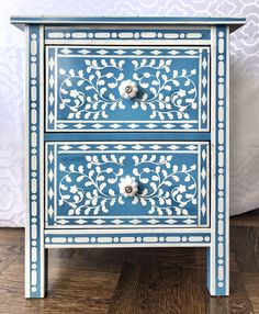 Nightstands with Faux Bone Inlay Stencils | Jewels at Home Stencil Patterns, Stencil Designs, Campaign Dresser, Garage Sale Finds, Mid Century Dresser, Large Stencils, Cutting Edge Stencils, Used Vinyl, Cool Diy Projects