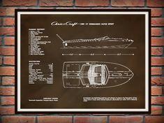 1969 Chris Craft Commander Super Sport Classic Mahogany Wooden Boat Drawing 19 Ft Motorboat Art Print - Drawing - Nautical - Marina Wall Art