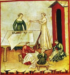 14th century textile depicting flax / linen production- Image courtesy Wikipedia. I love medieval documents.