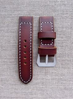Brown leather Panerai watch strap by difues on Etsy